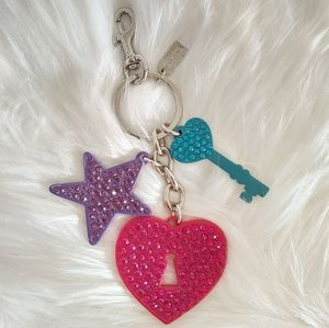 New Coach Heart Key and Star Keychain Purse Charm